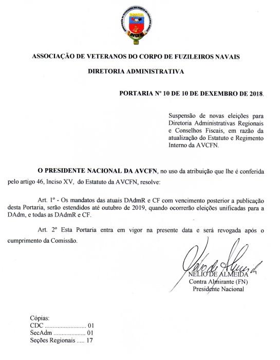 Port 10-2018 DAdm adiamento eleicao