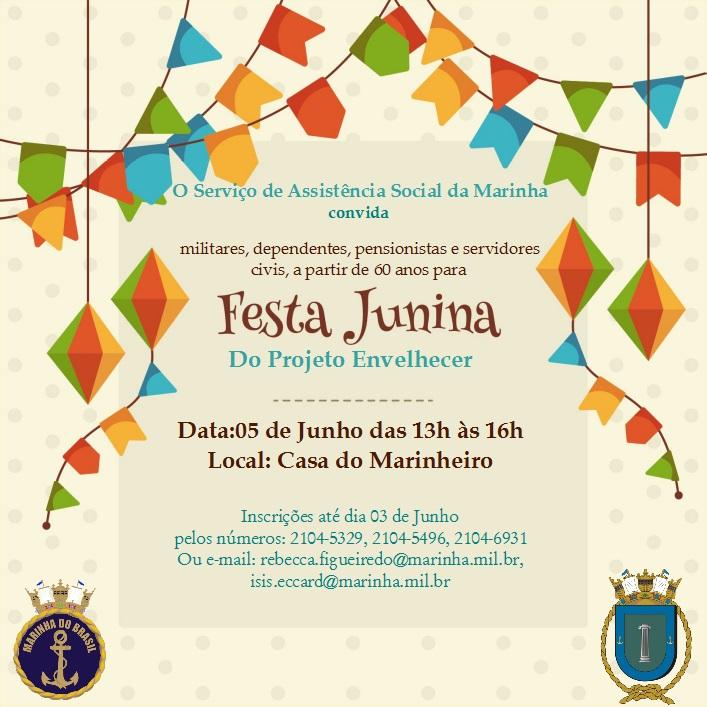 Convite da Festa Junina - Projeto Envelhecer - SASM